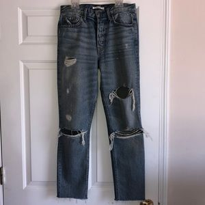 GRLFRND ripped jeans with unhemmed detail size 27